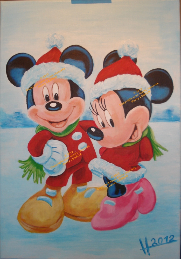 Santa Claus, Mickey Mouse, Minnie Mouse by lhommeloiret